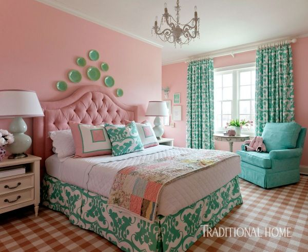 This Candy Colored Bedroom Is Sweet As Its Young Occupant The French Check Rug