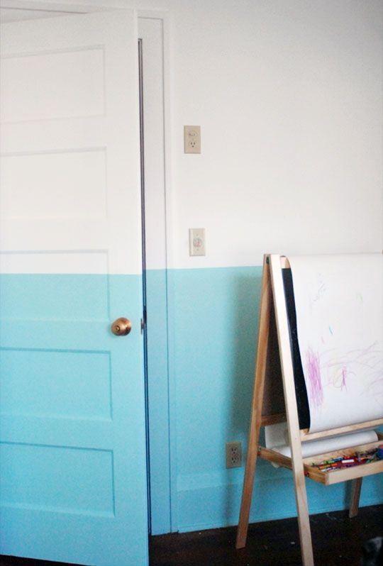 When ombre meets home decor: The Doors, Half Painted Walls, Paintings Ideas, Colors, Interiors, House, Half Walls, Half Paintings Wall, Kids Rooms