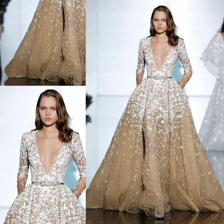 2015 Zuhair Murad Fall Collection Champagne Long Sleeves Tulle/Lace Celebrity Dresses Detachable Train Deep V Neck Evening Dress Pageant Der Dress Shop Discount Dresses Online From Weddingdressseller, $249.25| Dhgate.Com