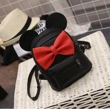 2017 Fashion New Female bag Quality PU leather Women's bag Backpacks Cute Animals Bow Sweet ears Wind School Baby Mini Backpack(China (Mainland))