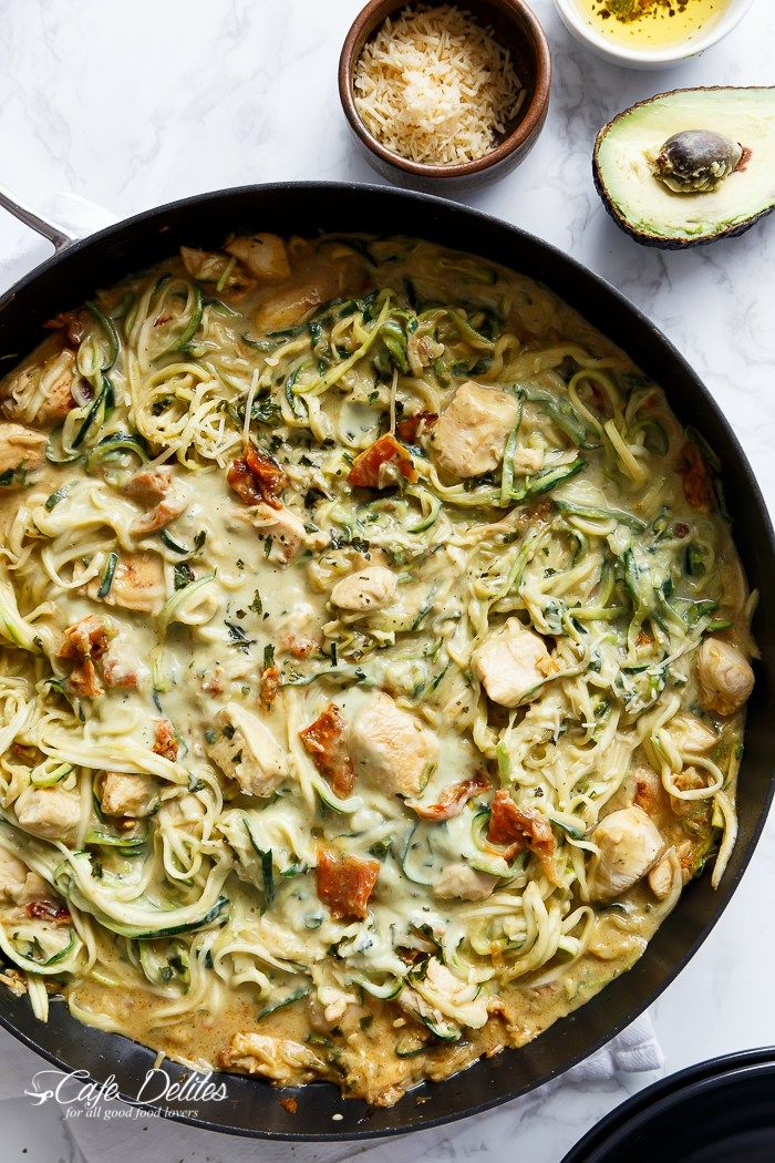 Avocado Alfredo Zoodles With Chicken and Sun Dried Tomatoes  | http://cafedelites.com
