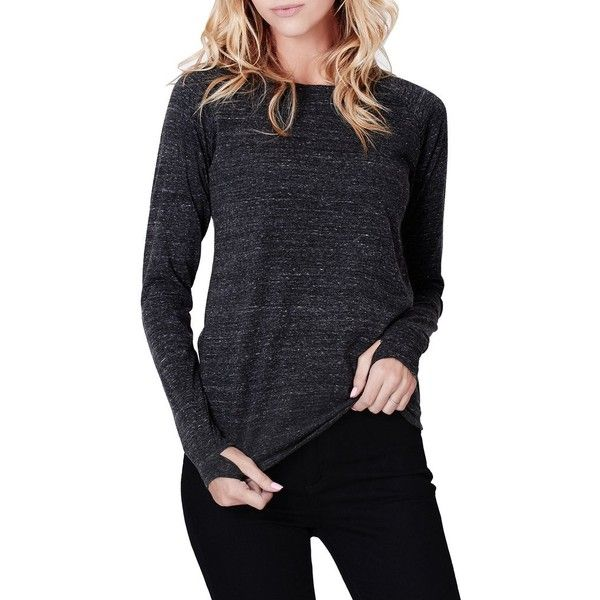 LE3NO Womens Tri-Blend Long Sleeve Round Neck T Shirt with Thumb Hole (£16) ❤ liked on Polyvore featuring tops, t-shirts, layering tees, layering t shirts, blue t shirt, layered long sleeve t shirts and round neck t shirts