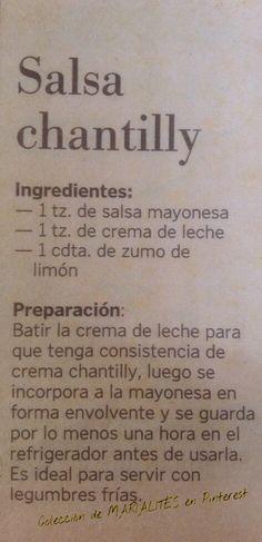 Recetas de cocina. Salsa chantilly