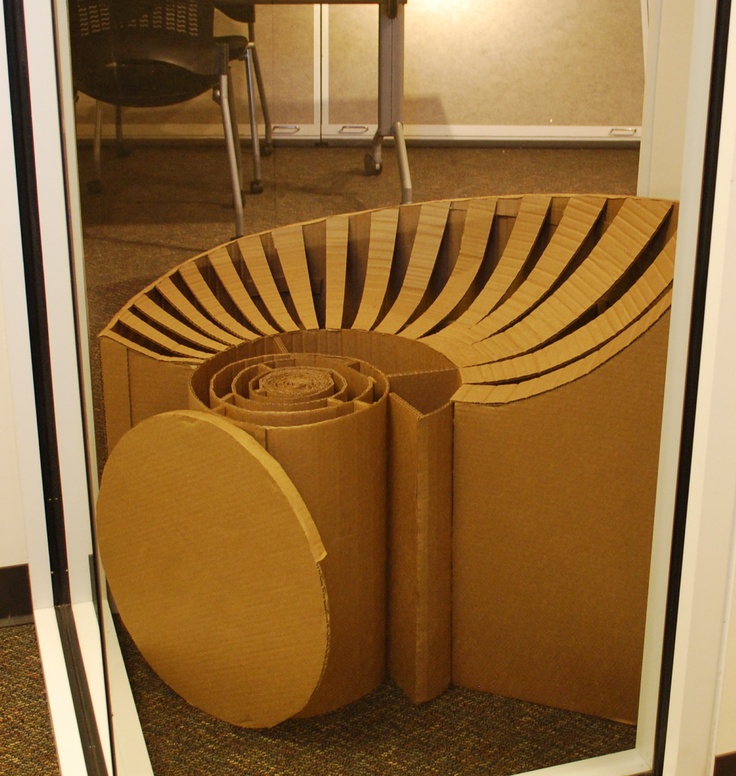 Sea Shell Inspired Art Deco Chair Made Out Of Cardboard