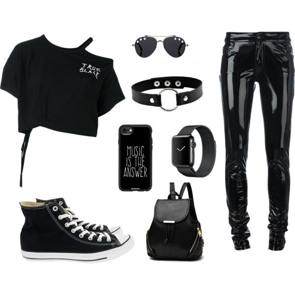 Black ♥ by taurahell on Polyvore featuring Ann Demeulemeester, Anthony Vaccarello, Converse, Casetify and Givenchy