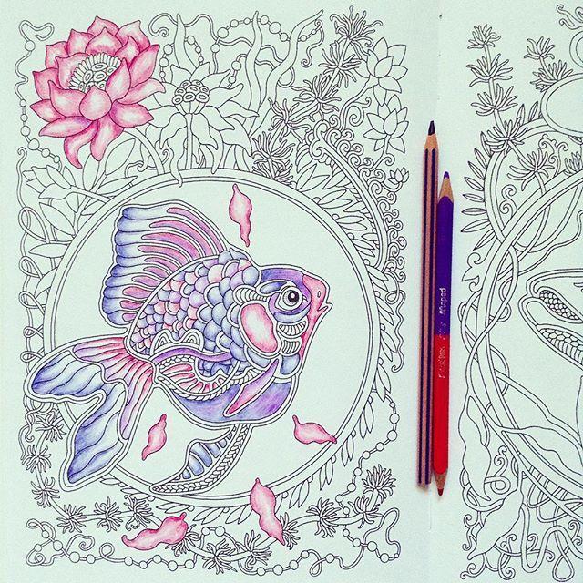 """Fish and flowers  My coloring book  Рыбка из нарисованной мной книги-раскраски """"Ветер уносит цветы"""" от издательства """"Манн, Иванов и Фербер"""".  Карандашами можно добиться более нежных цветов и плавных переходов из одного цвета в другой  #ветеруноситцветы #mifbooks #cute #fish #coloring #coloringbook #coloringbookforadults #pencil #instaart #раскраска #раскраскаантистресс #раскраскадлявзрослых #Creativelycoloring #coloring_masterpieces #artecomoterapia #artteraphie #арттерапия #b..."""