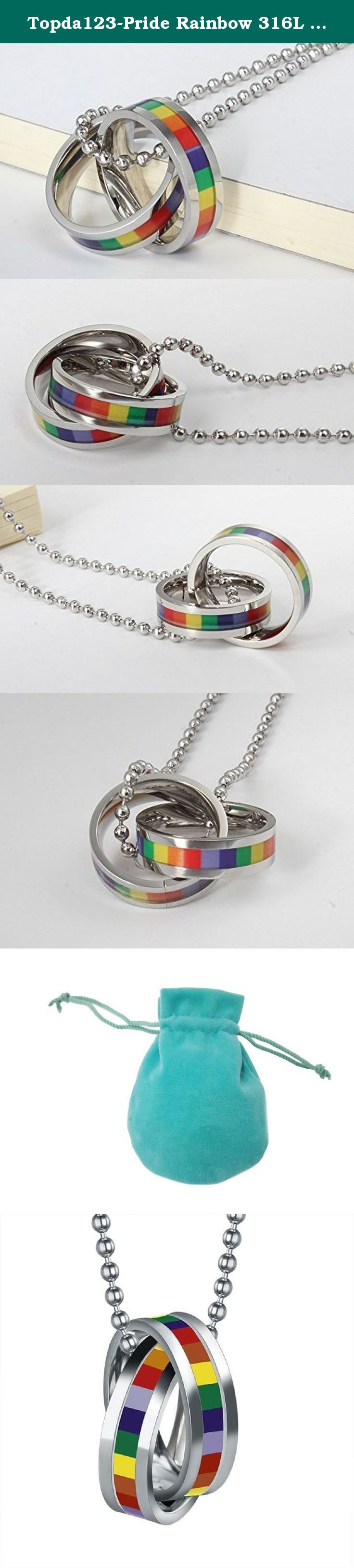 Topda123-Pride Rainbow 316L Stainless Steel Equality Pendant Necklace for LGBT Gay Les With Gift Bag. A perfect gift and souvenir *It's the perfect gift to let someone know you care and show your love - straight from your heart *His and Hers matching couples necklace set in the form of a divided Key Sol, each half personalized the commitment of thatspecial someone. *These two stainless steel Key Sol pendants are stamped with Love You Leally, one for him and one for her. Makes awonderful…