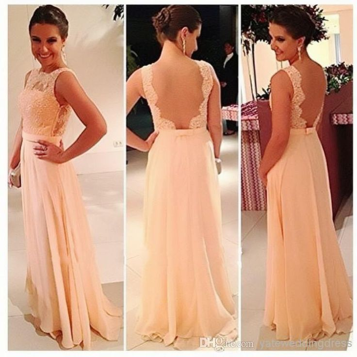 Big Discount ! High Quality U Open Back Print Chiffon Lace Long Peach Color Bridesmaid Dress Party Dress 2014 Prom Vestidos, $80.11 | DHgate.com