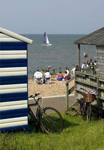 Blue Flag Beaches: Beach huts, Tankerton, Whitstable, Kent,