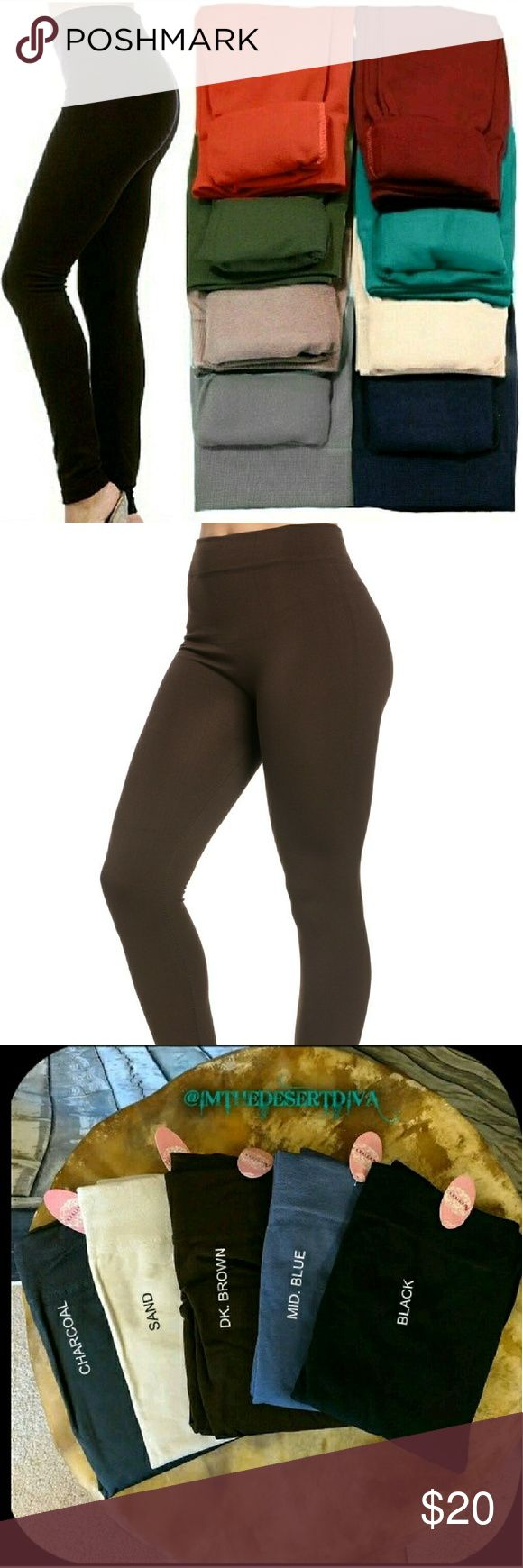 ‼️CLEARANCE‼️DK BROWN Fleece Lined Leggings 🔘ONE SIZE FITS MOST🔘(best fits S, M, L )  Super soft, very stretchy and stylish fleece leggings\footless tights. Looks like a regular sleek legging but inside is soft and cozy fleece that is warm & comfy. Warmth and style without bulkiness. 65% Polyester, 20% Cotton, 15% Spandex.  Available in other listings: BLACK, CHARCOAL, MIDNIGHT BLUE, WINE & SAND.  🔴Price Firm Unless Bundled 🔴No Trades Pants Leggings