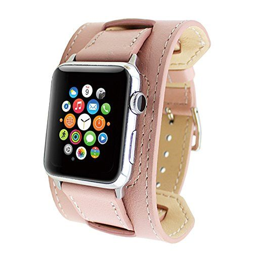 Apple Watch Band, Wearlizer Genuine Leather Watch Strap Replacement w/ Metal Clasp for Apple Watch all Models Cuff Design - 38mm Pink Wearlizer http://www.amazon.com/dp/B01781KW2E/ref=cm_sw_r_pi_dp_kOSSwb1TAQ8NF