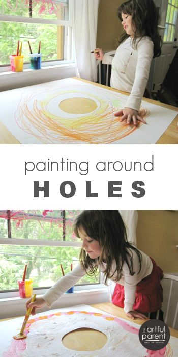 Hole in paper art activities for kids encourage them to think and create differently. Love the creativity the holes provide!