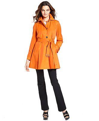MICHAEL Michael Kors Petite Coat, Hooded Belted Trench - Petite Coats - Women - Macy's