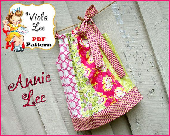 Annie Lee Pillowcase Dress Pattern. PDF, Girl's Dress Pattern. Toddler Pattern. INSTANT DOWNLOAD Girl's Sewing Pattern