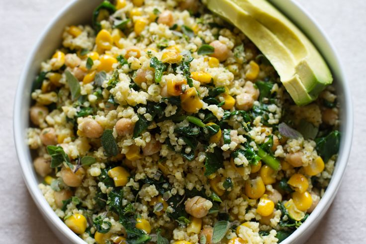 lemony millet salad with chickpeas, corn, + spinach