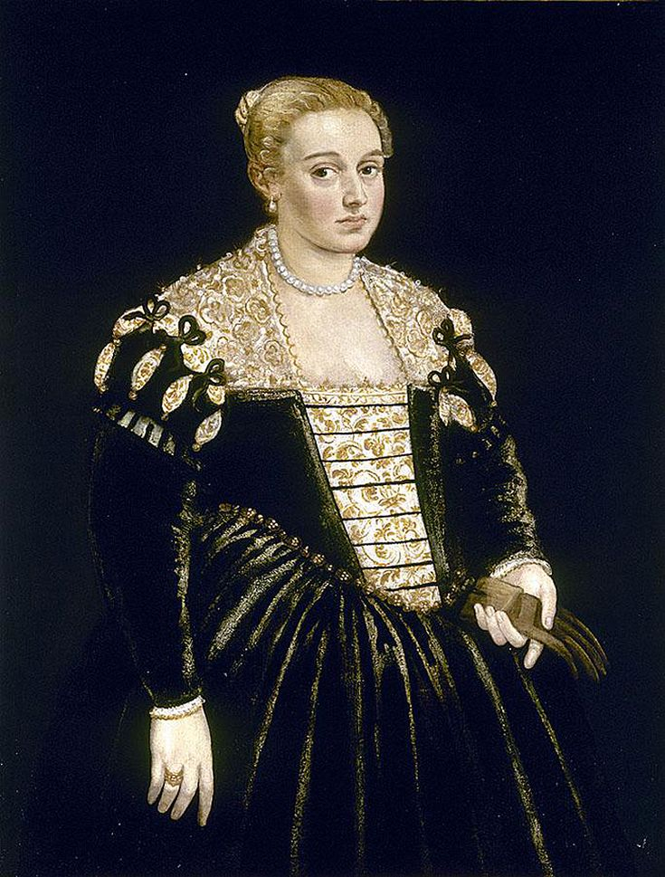 tintoretto - portrait of a Venetian lady by Jacopo Tintoretto (real name Jacopo Comin; September 29, 1518 - May 31, 1594)
