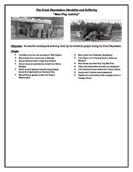 Great Depression Role Play Activity | Great Depression, Role Play and ...