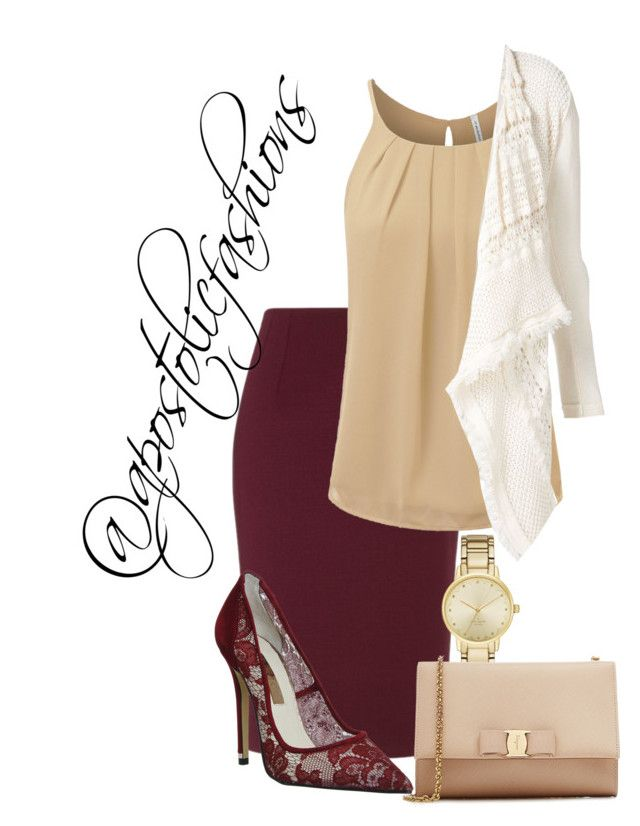 """""""Apostolic Fashions #1512"""" by apostolicfashions ❤ liked on Polyvore featuring Twin-Set, Office, Kate Spade, Salvatore Ferragamo, modestlykay and modestlywhit"""