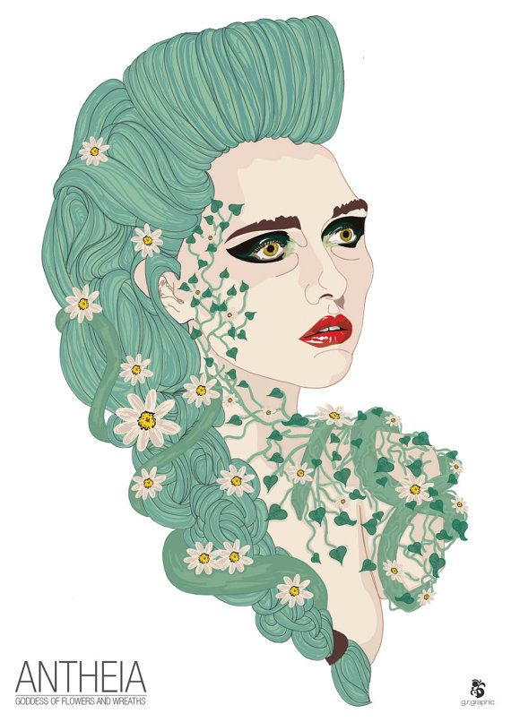 Antheia Goddess of Flowers and wreaths Digital Print by grgraphic