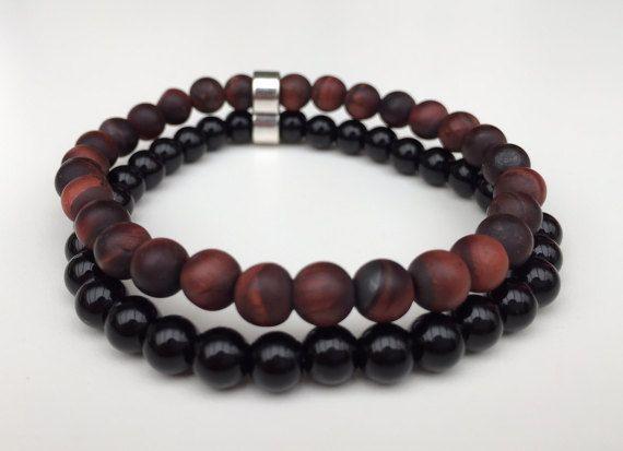 Bracelet homme perle semi precieuse