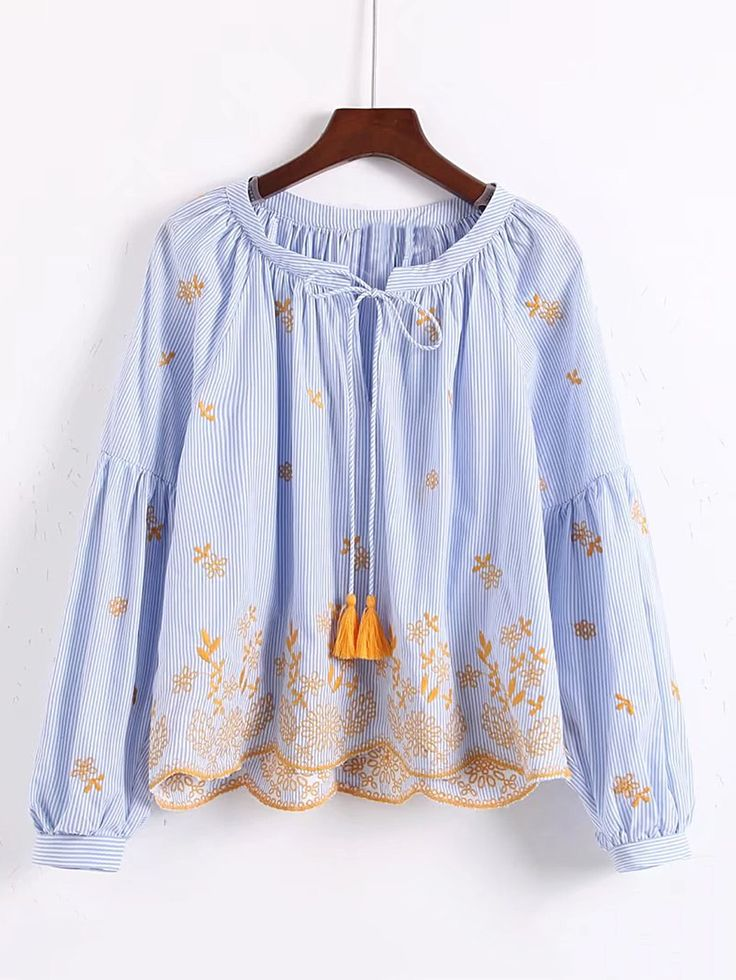 Shop Drop Shoulder Tassel Tie Embroidery Top online. SheIn offers Drop Shoulder Tassel Tie Embroidery Top & more to fit your fashionable needs.