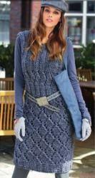 Схема вязания: Платье с ажурными узорами | Пуловеры спицами - petelka.net