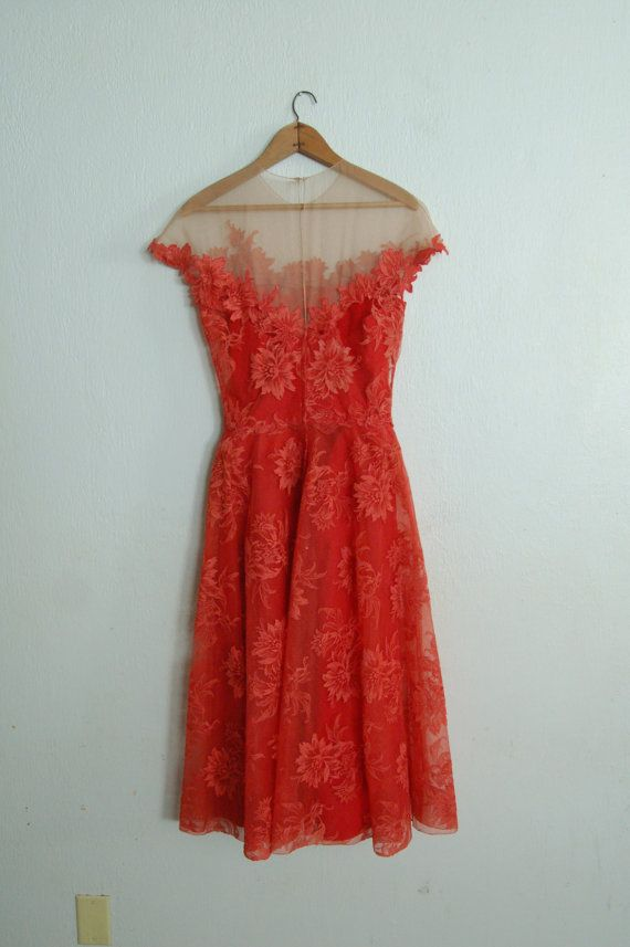 Vintage 1950's Peggy Hunt Spiced Orange Dress by missingpieces