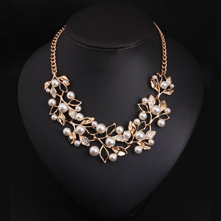 Simulated Pearl Necklaces & Pendants Gold Plated Leaves Statement Necklace Women Collares Ethnic Jewelry for Personalized Gifts - free shipping worldwide