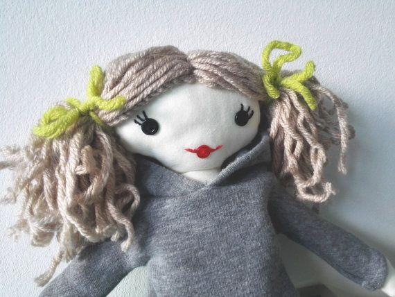 Handmade art rag doll ooak cloth rag doll hoodie dress by Mehowka