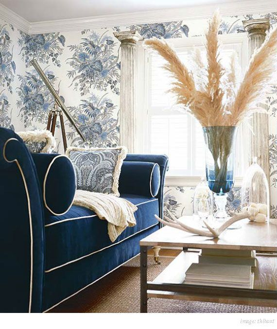 Navy Couch With White Contrast Piping #interiordesign   More Wonders At  Www.francescocatalano.