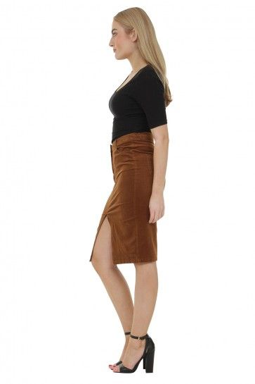 304a0d5b5bddca Knee-length Corduroy Pencil Skirt with front split - Brown ...