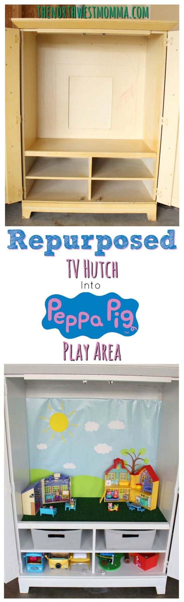 Repurpose an old TV Hutch into the perfect play space for your own Peppa Pig fanatic!