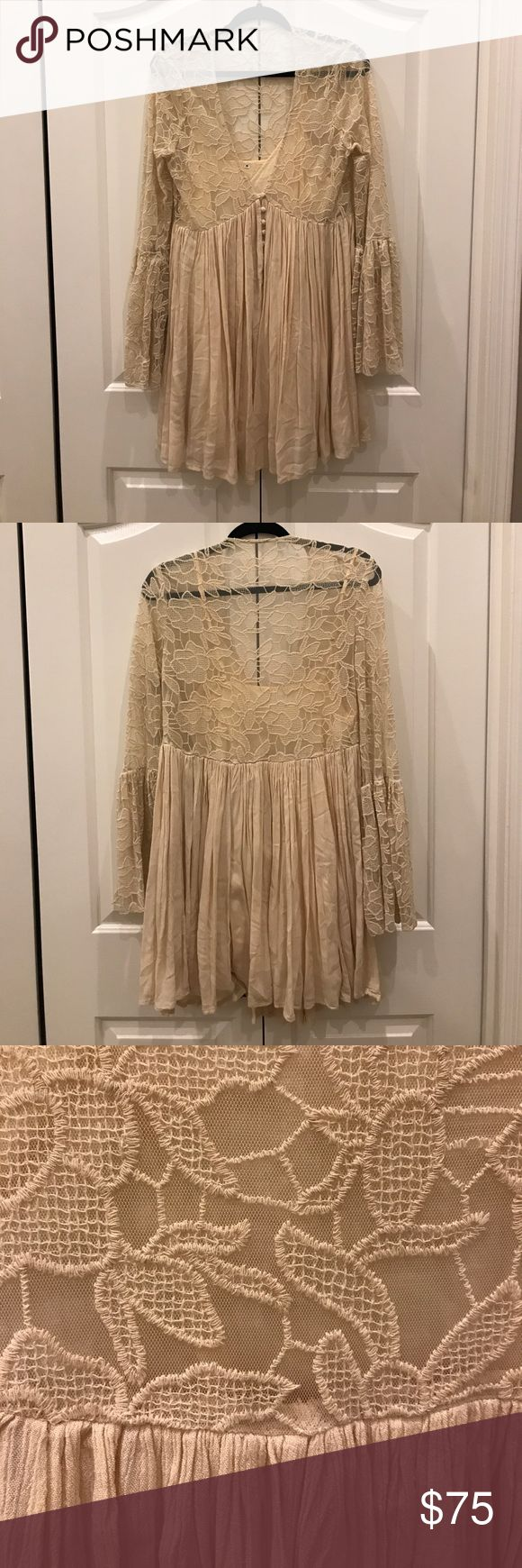 Free people lace dress with slip Flowy cream fall dress! Rarely worn. So cute and a classic fp item. Free People Dresses Mini