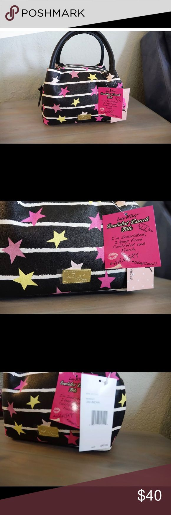 NEW Betsey Johnson Insulated lunch bag BRAND NEW WITH TAGS  Luv by Betsey Johnson Insulated Lunch Tote mini satchel Adorable colorful Stars and Stripes. It's insulated to keep your food Cold/Hot and Fresh. Say goodbye to your boring lunch bag and switch to this adorable stylish tote. Retails for $48.00  100% Authentic Betsey Johnson  Measurements Height-6.5 inches Length-9 inches Depth-5.5 inches No trades Betsey Johnson Accessories Bags