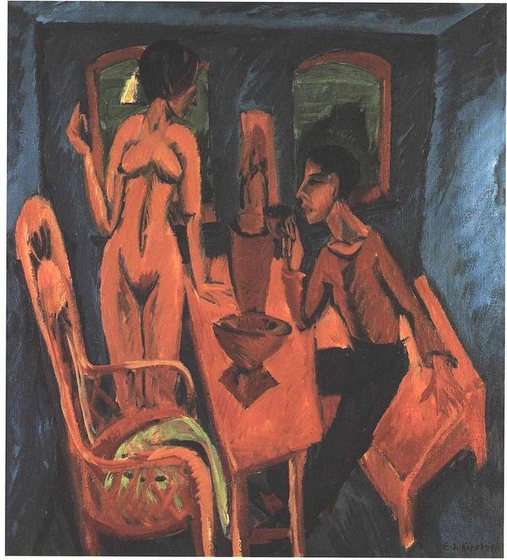 Kirchner - Turmzimmer - Selbstbildnis mit Erna - Ernst Ludwig Kirchner - Wikimedia Commons