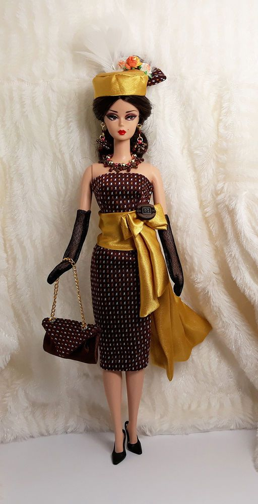 06c32828bad4 Ooak Handmade Gold Brown Silk Outfit Dress Bag Hat Glove Jewelry For  Silkstone #Sitar_Large_Super_Rich