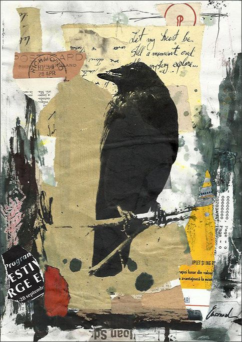 Original Collage Mixed Media Art Painting Illustration One Gift Raven Crow One of A Kind Autographed by artist Emanuel M. Ologeanu