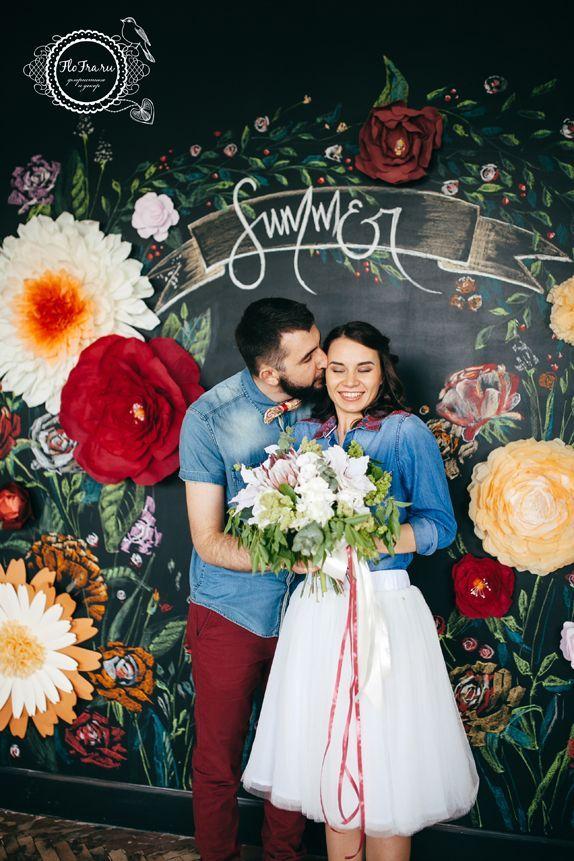 фотозона свадьба букет невесты грифельная доска Кемерово на заказ бумажные цветы www.flofra.ru:
