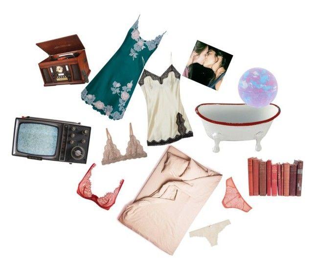 """Sleepover- Hayley Kiyoko"" by mimixai on Polyvore featuring OuiHours, Eberjey, Carine Gilson, Samantha Chang, Sony and Innovative Technology"