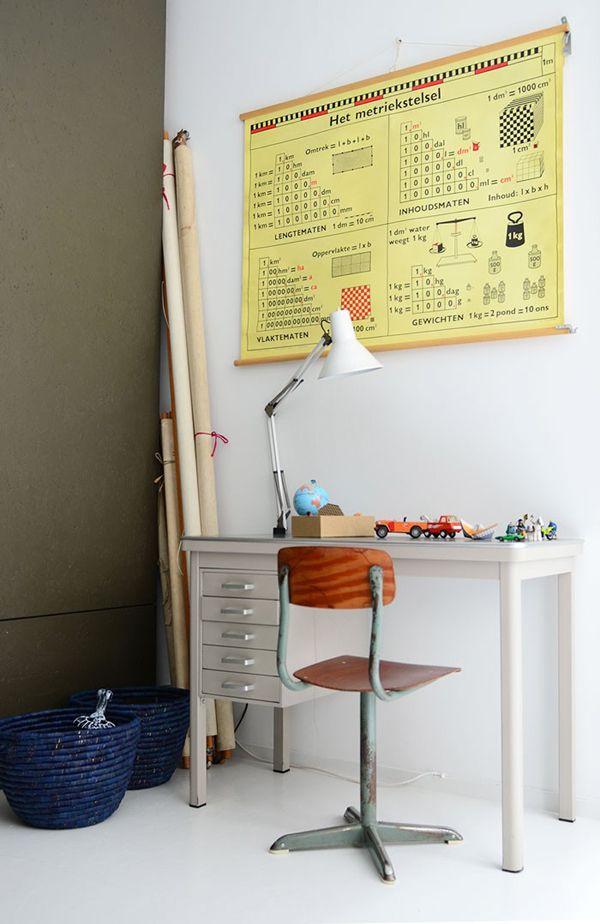 work desk #workspace #home #office #kids #map #vintage