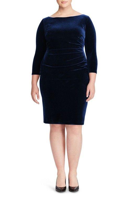 Main Image - Ralph Lauren Stretch Velvet Sheath Dress (Plus Size)