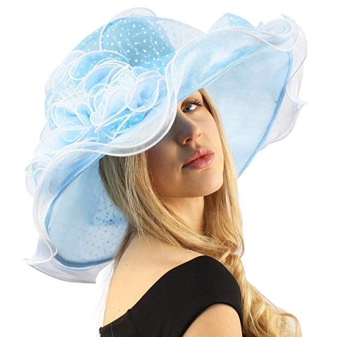 "Superb Ruffle Edges Floral Feathers Organza Derby Floppy Wide 6/"" Dress Hat"