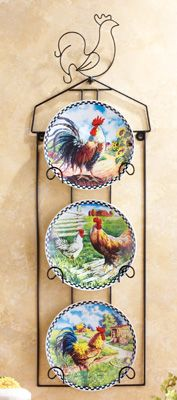 4-Piece Rooster Plates and Iron Display Rack Set - Item # 97515