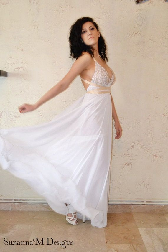 White Chiffon Maxi Sexy / Gown / Wedding Dress - Handmade Gown / Free Shipping Grecian. $490.00, via Etsy.