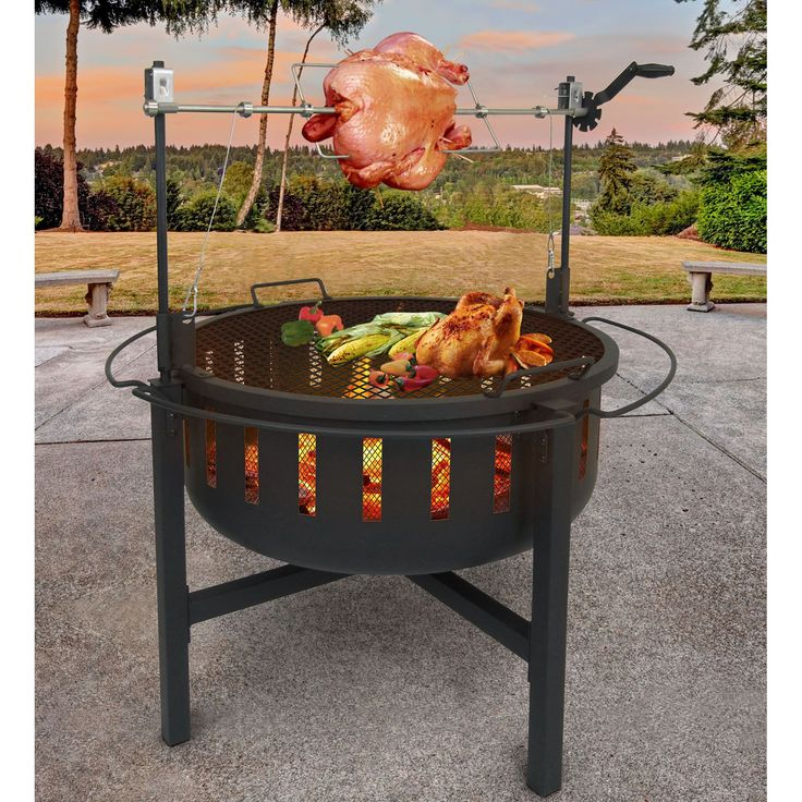 Landmann Fire Rock Fire Pit and Grill with Rotisserie | from hayneedle.com