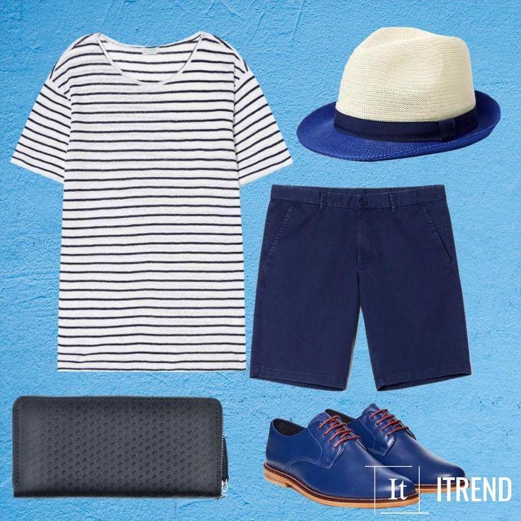 Тельняшка освежает любой образ. А летом она смотрится особенно очаровательно. Не думай, что этим летом сланцы - единственная твоя обувь ведь есть яркие синие ботинки оксфорды, пляжная соломенна шляпа, синие шорты, а еще не бойся экспериментов ни в одежде, ни в жизни.