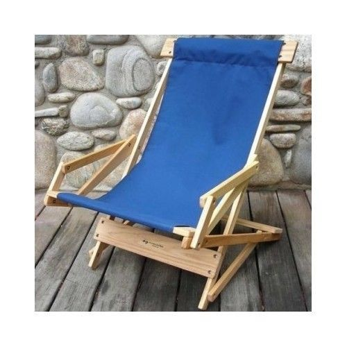 Classic-Beach-Lounger-Sling-Recliner-Chair-Wood-Comfort-Outdoor-Furniture-Camp