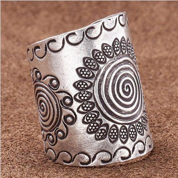 Boho Ring Silver Boho Ring Vintage Bohemian by LouluJewels