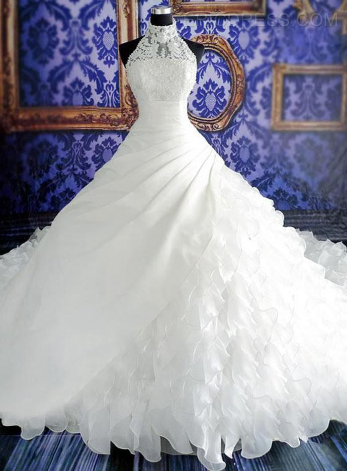 Stunning Tiered Cathedral Halter  Beaded Lace Wedding Dress 6