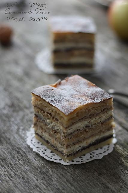 Slovenian Prekmurje Gibanica. // Traditional cake / pie. Om, nom  nom.